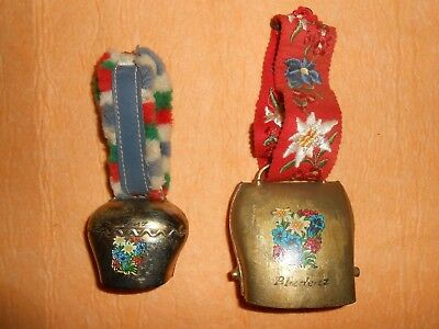 "Lot Of 2 ""bludenz Austria"" Vintage Metal Cow Bells ~ Floral Motif ~ Straps"