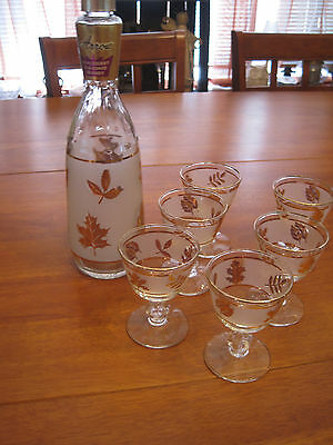 Set of 5 Vintage Leaf pattern cordial glass and Arrow Brandy bottle with print