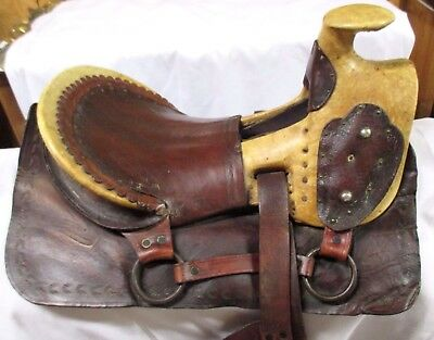 Rare Exquisite ANTIQUE 1860's Exposed Rawhide Complete Saddle MAKE OFFER