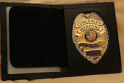 Concealed Weapons Permit badge & wallet Mississippi (Silver)