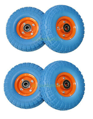 """2PC 1PC 4PC 10"""" Trolley Wheel Puncture Proof 20mm Bearing SOLID Double Hub"""