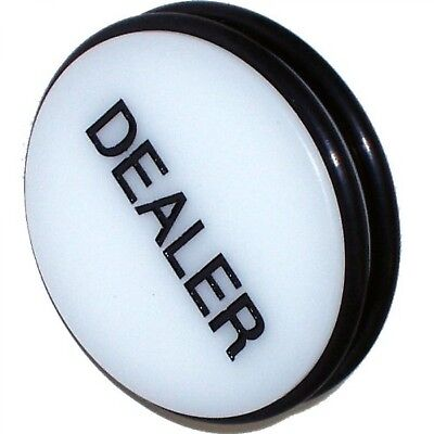 """Dealer Puck Button 3"""" O-Ring Style Rubber Bumpers Two Black Engraved Letters New"""