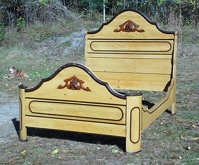 Antique Victorian Cottage Painted Double Full Bed American Country Folk Art