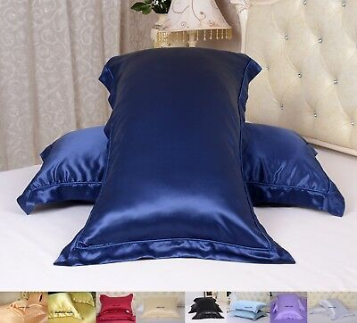 2pc 22MM 100% Pure Mulberry Silk Pillow Cases With Borders Around Oxford Style