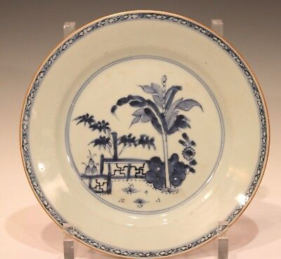 """18th C Chinese Porcelain Plate Charger Blue & White Nanking Qianlong Export 9"""""""