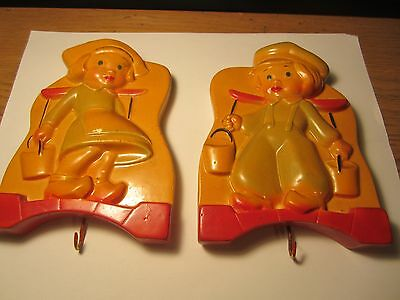 1956 Vintage Miller Studios Chalkware Jack and Jill with hooks