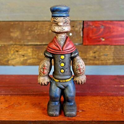 """Popeye Sailor Man 9"""" Cast Iron Toy Bank Figurine Painted Antique Finish"""