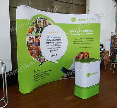 Trade show Waveline Curved Display booth 10ft fabric tension Pop-up