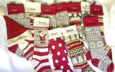 Pottery Barn CHRISTMAS STOCKING Fairisle Knit mom dad daddy mommy red gray green