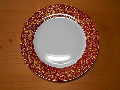 "JCP JCPenney Chris Madden MONTALIRA RED Set of 4 Dinner Plates 10 5/8"" Red A"