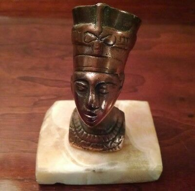 NEFERTITI Bust Small Egyptian Bronze Sculpture Vintage Queen Paperweight Marble