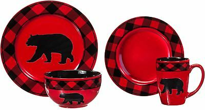 Bear Country Buffalo Check 16-Piece Stoneware Set Kitchen Dinnerware Splendor