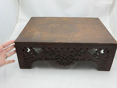 Eastlake? Antique Wooden Stand - Fretwork, Scrollwork, Fancy Cut Grapes