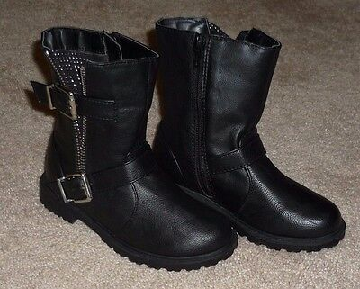 GIRLS TODDLER SIZE 8 BLACK BUCKLE BIKER BOOTS by CHEROKEE - BRAND NEW!