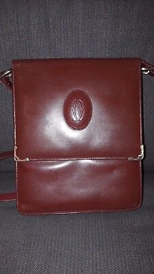 Cartier Sacoche Leather Bag Vintage With Coa