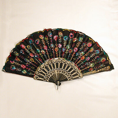 Sparkling Colorful Sequin Folding Hand Fan Parties Dancing Costumes - A229