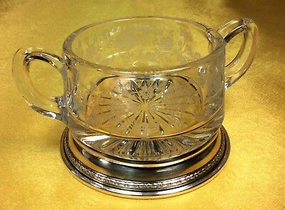 Vintage Sterling Silver Etched Floral Design Glass Sugar Serving Bowl