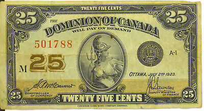 Dominion of Canada 1923 25 Cents Shinplaster McCavour- Saunders VF INK Writing