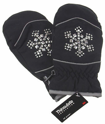 Joe Boxer Women Black Mittens Silver Snowflake 3M Thinsulate Insulation Warm NEW