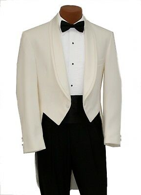 Ivory Off White Oscar de la Renta Formal Tuxedo Tailcoat Prom Wedding Formal