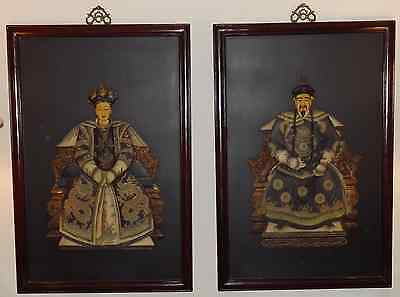 Chinese Emperor and Empress Large Framed Painted Carvings