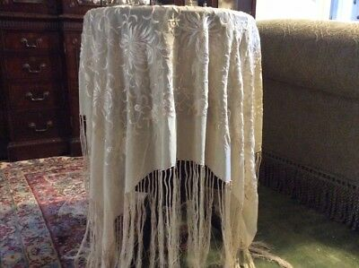 "Victorian Piano Shawl  Finely Embroidery 50""X50"" Silk Fringe 18"""
