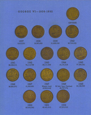 Canadian Small Cent Collection 1920-1962 Complete 1922 1923 1924 1925 1926