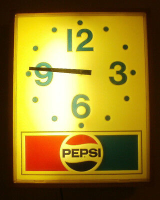 Vintage Pepsi Cola Lighted Electric Clock, Runs Good