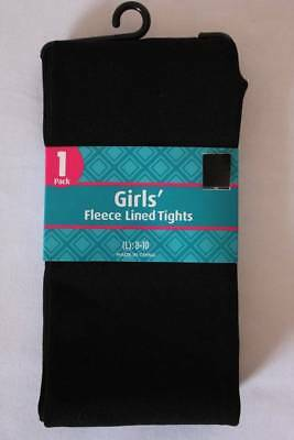 NEW Girls Fleece Lined Tights Size Large 8 - 10 Solid Black Stretch Soft Warm