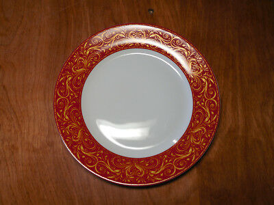 "JCP JCPenney Chris Madden MONTALIRA RED Set of 8 Salad Plates 8"" Red Gold B"