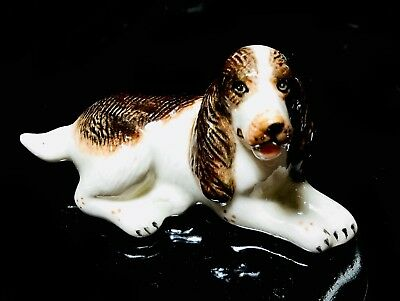 Spaniel Dog Figurine Tiny Pet Ceramic Craft Hand Painted Animal Gift Collectible