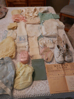 Lot Of Vintage Baby Clothes, Shoes & Items Great Collection!