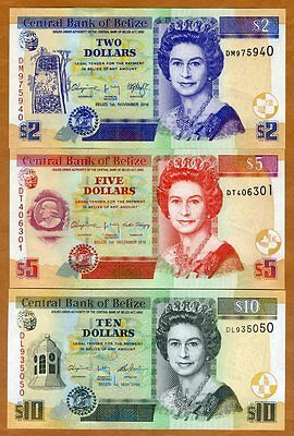 SET Belize, 2;5;10 Dollars, 2014-2016, QEII, P-66e-67f-68e, UNC