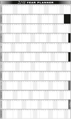 2018 - 12 MNTH VERTICAL YEARLY  WALL PLANNER 600mm X 1000mm / SQUARE