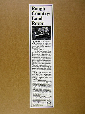 1970 Land Rover 'Rough Country' landrover truck photo vintage print Ad
