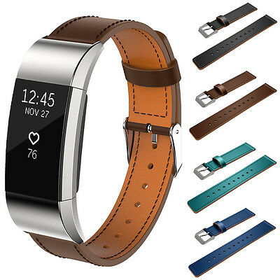 Luxury Genuine Leather Watch Band Strap For Fitbit Charge 2 Wristband Parts