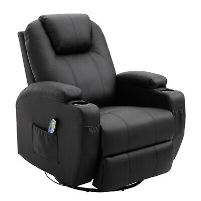 Massage Recliner Sofa Chair Lounge Swivel Leather Vibrating Heated With Control