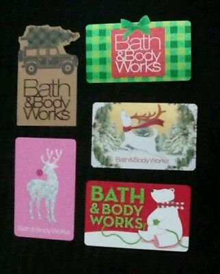 Five Bath & Body Works Gift Cards, Christmas, Holiday, Collectible, Mint