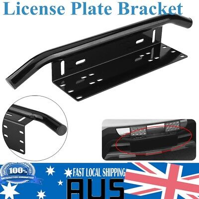 23'' License Number Plate Frame Holder Bull Bar Bumper Mount LED Bracket Black