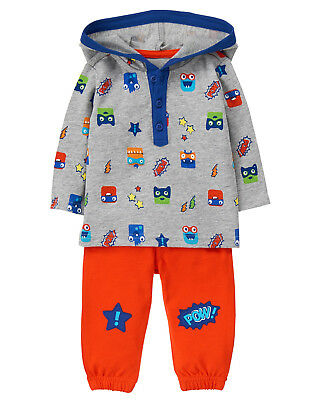NWT Gymboree Tiny Team Monster Hooded Top Pants Outfit Set 2PC Baby Boy