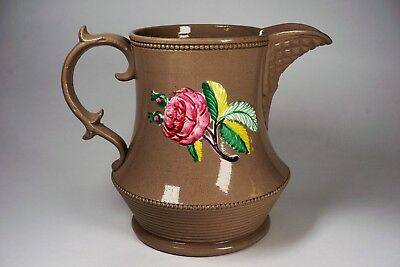 Antique Pottery Majolica Pitcher Rose and Rose Buds Design