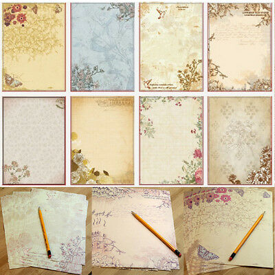 Lots 10Sheets Vintage Flower Pattern Letter Lined Writing Stationery Paper Pad