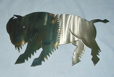 Metal Art Laser Cut Running Bison Buffalo Wall Plaque Heat Colored Rustic Decor