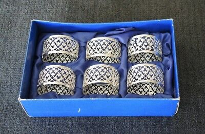 Boxed Set 6 Silver Plated Filigree Napkin Rings Made England  Unused As New #12