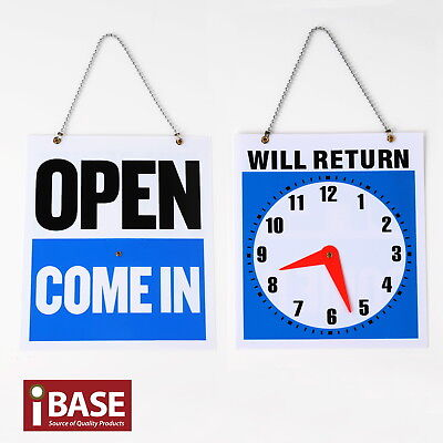 Open Come In Will Return Sign Hand Crafted Clock Business Shop Door Restaurant
