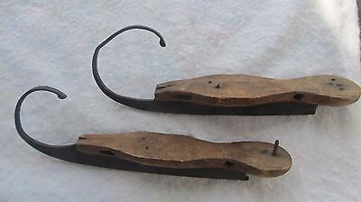 2 RARE, EARLY, GREAT LOOKING 1800 Antique Hand Carved WOOD ICE SKATES, Americana