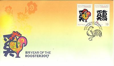 CHRISTMAS IS  2017 Year of the ROOSTER design set of 2  on FDC