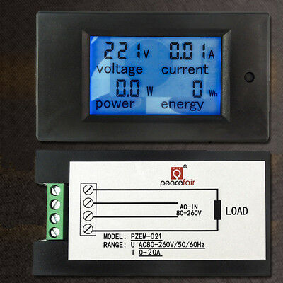 AC 80V-260V 20A 4 in 1 Digital LCD Display Digital Current Voltmeter Ammeter Pow