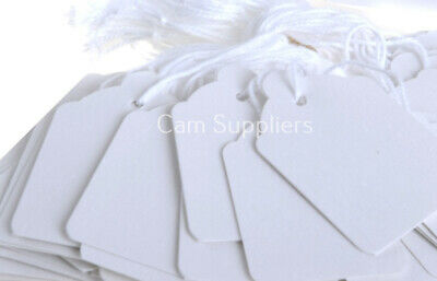 Pure White Strung String Gift Jewellery Price Tags Tag Tie On Labels 30mm 48mm