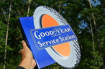 Old Style Goodyear Service Station Tire Dicut Flange Thick Steel Sign Usa Made!